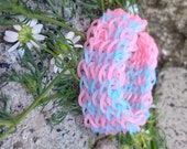 Tenderly pink and blue Rainbow Loom Bracelet gift for mom
