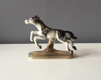 Vintage Black, Grey, and White Spotted Jumping Horse Figurine