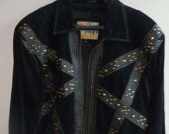 Black Suede/Leather embellished jacket