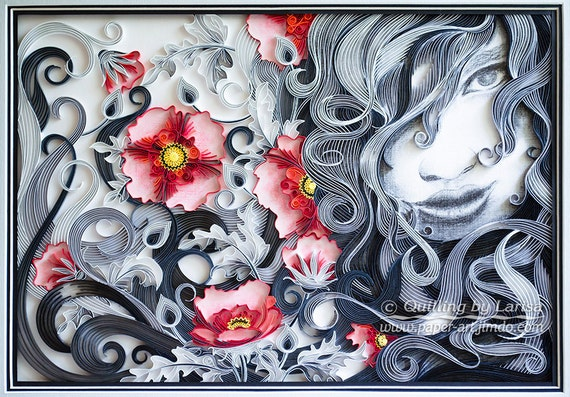 Original Paper Quilling Wall Art - The girl and red poppies. Handmade. Decor. Design.