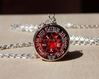 Handmade Hellsing Necklace, Glass dome Pendant, gift for Her Him, nekel free jewelry