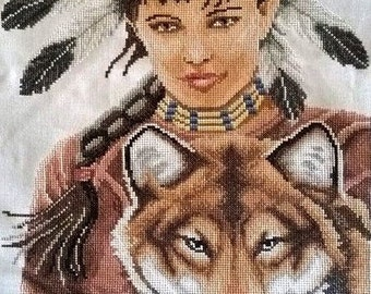 Indian Girl with Wolf gobelin