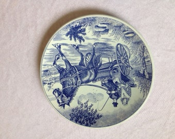 Delfts Blauw Plate Horse And Carriage Vintage Delft Blauw Delft Blue Vintage Horse Plate Dutch Horse Plate