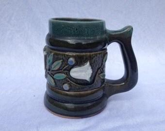 Vintage Beer Stein Mug Tulips Green
