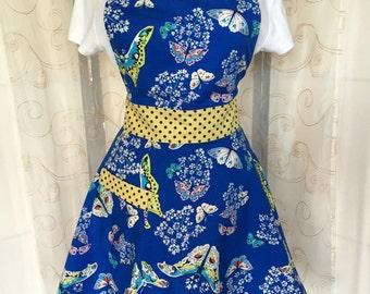 Women's Full Apron, Butterfly, Blue, Yellow, Apron, Polka Dot, Retro