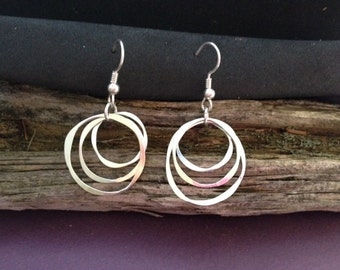 Three circle dangle earring made from argentium silver.