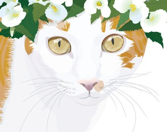 Cat wearing a crown of flowers. His name is the brilliance of the sun. Cat Illustration