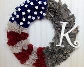 Army Burlap Wreath,Flag Wreath,Red White Blue Wreath,Burlap Wreath,ACU Wreath, ACU, Military Wreath, Flag Wreath, Burlap Wreath