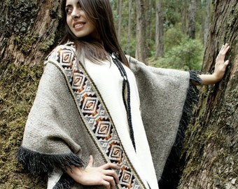 Handwoven Poncho Wrap Andean South America