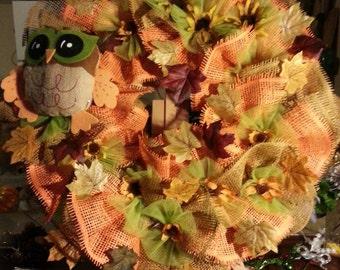 Autumn Owl Paper Mesh Wreath