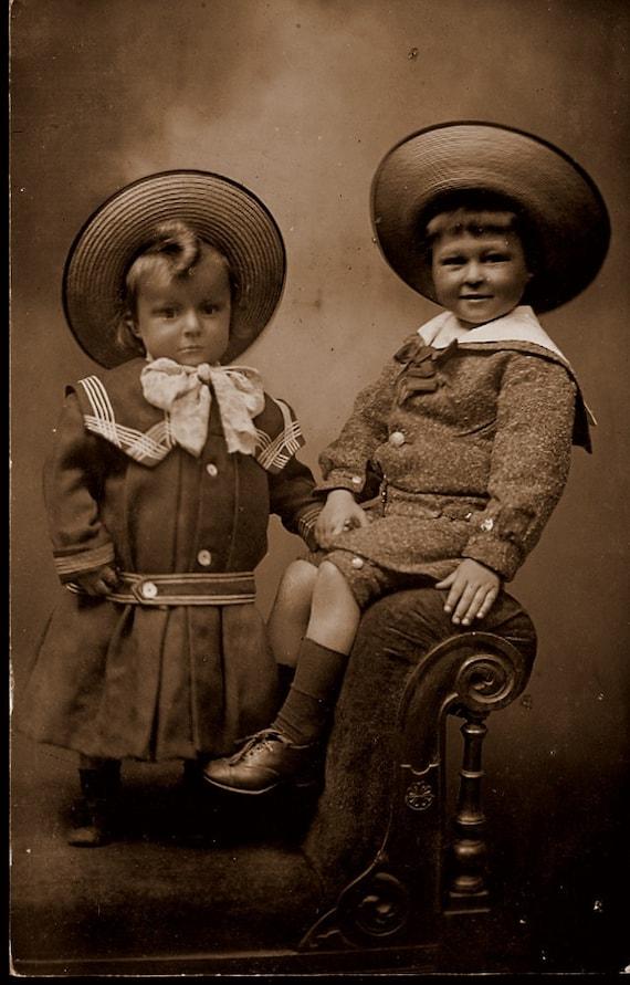 Buster Brown Children Real Photo Postcard. 1900s. Vintage