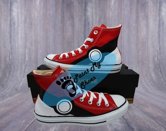 Pokemon, pikachu, converse, hand painted shoes, game shoes, free shipping in the US