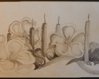 Magnolias, Candles, Ribbons, Holly and Berries and Christmas ornaments ...OH MY   Graphite  Drawing  18 x 12