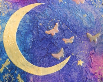 Crescent Moon and Butterflies  mixed media on blue and purple background 10 1/2 x 11