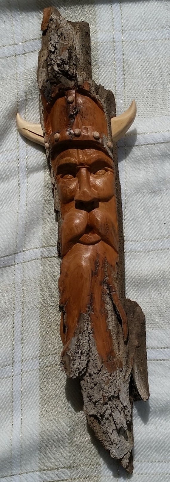 Viking whimsical hand carved cottonwood bark by