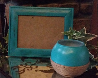 Painted and Distressed Aqua Picture Frame and Wrapped Jute Candle Holder
