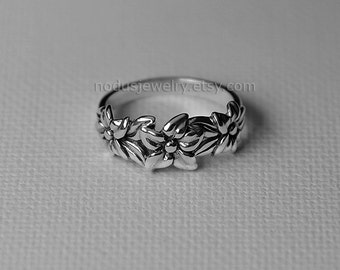 Floral ring, sterling silver ring, flower ring, botanical ring, flowers silver ring, silver ring, nature ring, botanical jewelry