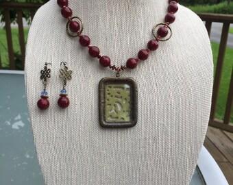 CLEARANCE - Cranberry cane necklace set
