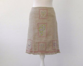 Natural linen embroidered skirt / natural embroidered linen Skirt