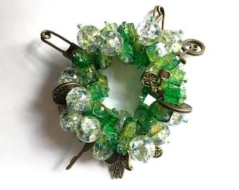 Green Cluster Charm Bracelet
