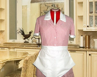 Ruby Red And White Stripe Striped Retro Diner Waitress Uniform DRESS Hostess Pinup Halloween Costume Custom Made