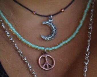 Peace Sign Beaded Choker