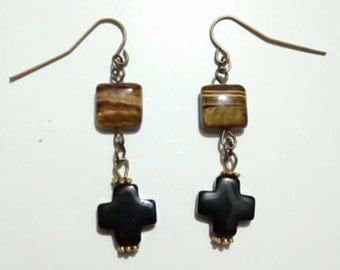 Tigerseye cross earrings