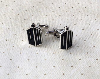 Dr. Who Tardis Doctor Cufflinks Cuff Links in Silver