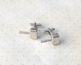 Thor Mjolnir Cufflinks Cuff Links in Silver