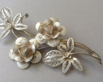 Silver Filigree Flower Pin/Brooch