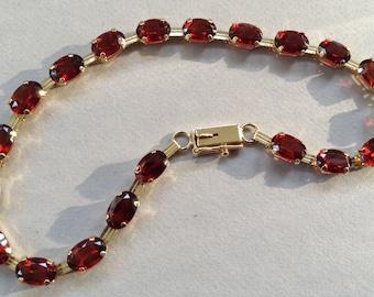 10K Gold Garnet Tennis Bracelet