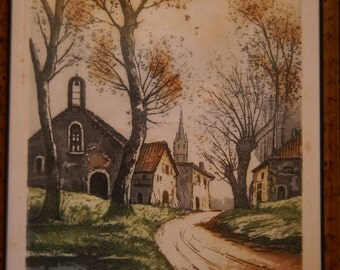 Nice framed aquatint from the 1930s by Heroy