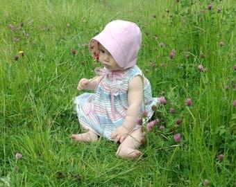 Baby girl sun bonnet pink floral reversible, vintage inspired hat.