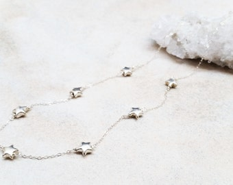 Stationed Star Necklace in Sterling Silver
