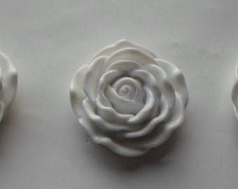 3 x Huge Flat Back White Cabochon Resin Rose Flower Focal Beads 45mm- Crafts/Jewellery/Knitting