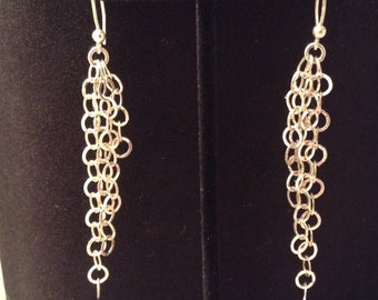 Sterling Silver 925 Dangle Earrings with Circular Design