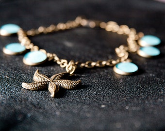 Anklet with seastar. Anklet with starfish pendant. Starfish anklet. Handmade one-of-a-kind anklet. Handmade blue anklet. Gift for her