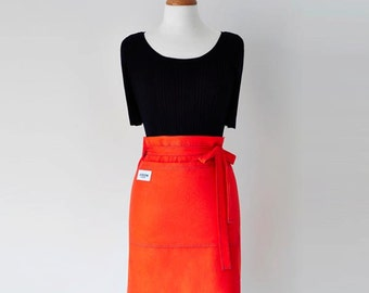 Hostess Apron - Women's Apron - Half Apron - Orange Apron - Front Pockets