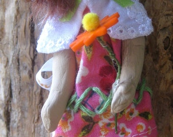 OOAK Mixed Media Art Doll, Flora and Her Flower, Comfort Doll