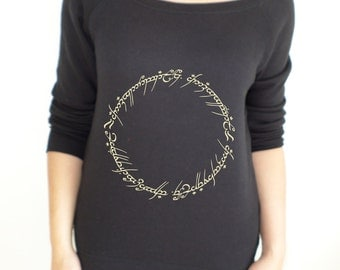 Lord of the Rings / The Hobbit one ring inscription slouch jumper/sweatshirt