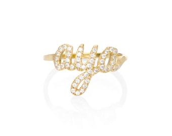 Personalized diamond ring - diamond name ring - Gold name ring - Pave diamond ring - Name ring  - White diamond ring - baby name ring