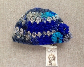 Winter teal&blue puffy hat