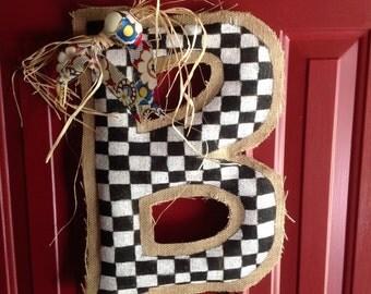 Initial Burlap Door Hanger