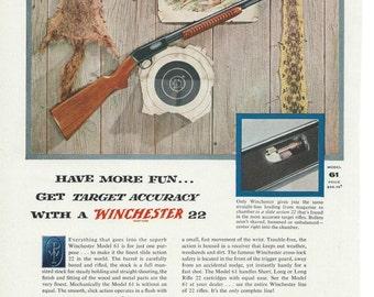 1950's Wall Art-1956 Winchester 22 Rifle Vintage Magazine Ad Art For Framing-Vintage Ephemera Wall Decor-Print Ads-Scrapbook Art-Retro Ad
