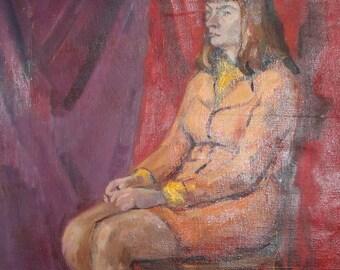Vintage woman portrait oil painting