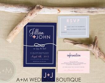 Wedding Invitation set, Nautical Invite,  Printable Invitations, Modern invitation set : JILLIAN