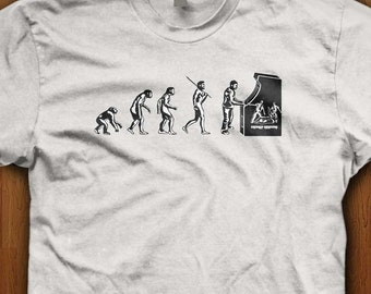 Video Game Evolution Shirt Gamer Tee Geek Clothing Evolution of Man Science Graphic T-Shirt Science Vs Reglion Funny Gift Idea For Him