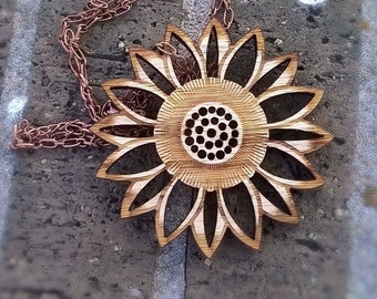 Wood Flower Pendant Necklace