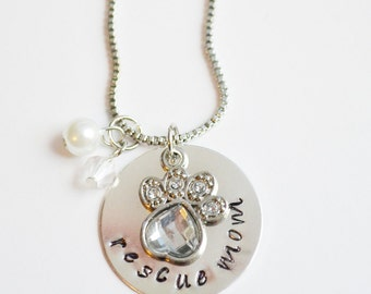 Rescue mom necklace - foster mom - adoption- pet lover