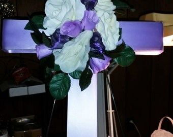 "Floral Cemetery Cross 24"""